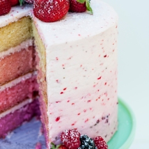 The inside of this beautiful, triple berry ombre cake
