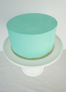 Tiffany Blue vanilla layer cake. These simple cakes can come in any color and can feed up to 30 people!